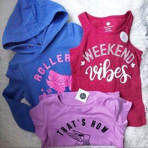 🎀 Bundle of 3 Toddler Girl Hoodie Camisole Shirt